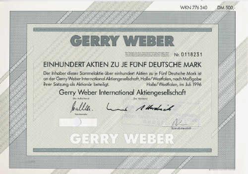 Gerry Weber Aktien