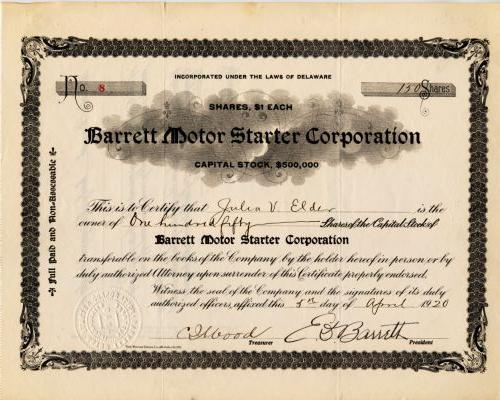 Barrett Motor Starter-Historische alte Aktien und Wertpapie
